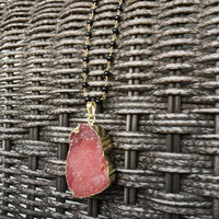 Rose Druzy Crystal Necklace on Onyx Wire-wrapped Gold Plated Chain | Pink Druzy Geode electroplated in 24K Gold, Druzy Jewelry Pendant