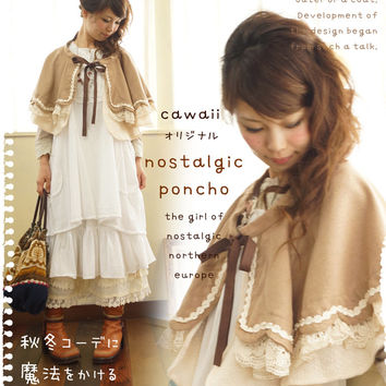 Mori girl Nordic poncho coat knit women's outer solid mantle camel large size A line cawaii original design. Mori girl LESSON43. Put the magic in the autumn and winter. 3-way ノスタルジックポンチョ ()--
