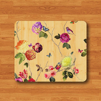 Beautiful Flower And Colorful BIRD Mouse Pad Vintage Wood Printed MousePad Rectangle Eco-Friendly Rubber Personal Gift Computer Desk Deco