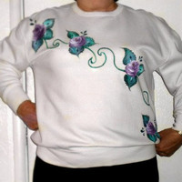 Hand painted Sweatshirt with Cascading by PaintedDesignsByLona