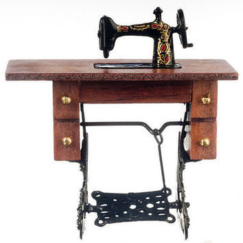 1:12 Scale Sewing Machine in Cabinet w/Chair #D7780