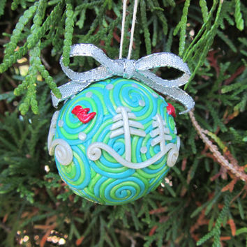 """Polymer Filigree and Mosaic 1.5"""" Christmas Ball Ornament """"Snowy Trees and Red Birds"""" in blue, green, white and red with silver ribbon"""