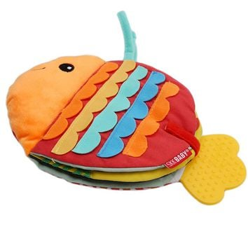 Animals Fish Soft Cloth Fun Book Baby Intelligence Development BB Sounds Learn Picture Cognize Quiet Book Rattle Toy