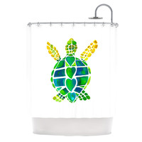 "Catherine Holcombe ""Turtle Love"" Green Teal Shower Curtain"