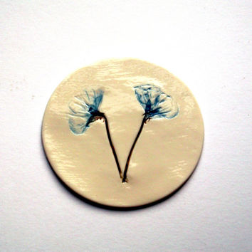 Handmade Porcelain Coaster Pressed with Blue Flowers - Wedding Present Mothers Day Gift Birthday Present Home Decor