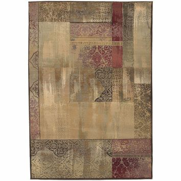Generations Green Beige Geometric Patchwork Transitional Rug