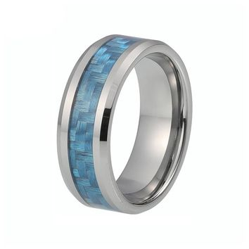 Silver Tungsten Men Ring With Blue Carbon Fiber Inlay