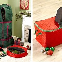 Seasonal Christmas Decoration Storage Solution Quilted Zipper Closure w/ Handles