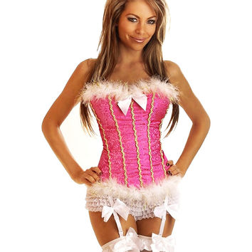 Pink Jacquard Print with Mohair Corset