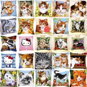 Cat 01 DIY Needlework Kit  Acrylic Yarn Embroidery Pillow Tapestry Canvas Cushion Front Cross Stitch Pillowcase