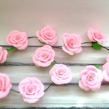 Wedding Arch Garland,Paper Flower Garland,Pink Rose Garland,Party Decoration,Bridal Crepe Paper Rose Flower,Paper Flower