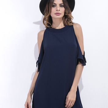 Navy Blue Cutout Shoulder Chiffon Shift Dress