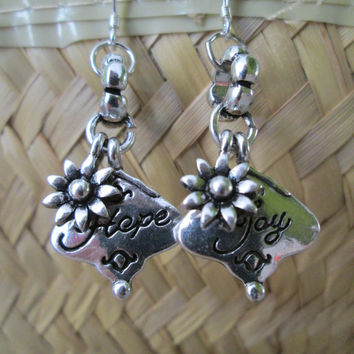 Sterling silver fish hook dangle earring, Hope charm, Joy charm, Mismatched earrings, Flower charm, Positive jewelry, Inspirational, Vintage