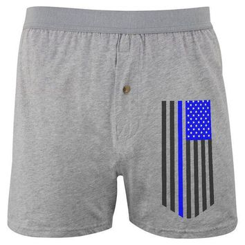 PEAPGQ9 Blue Lives Matter Thin Line Flag Soft Knit Boxer