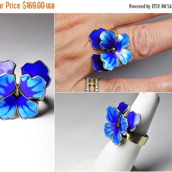 ON SALE Vintage DAVID-Andersen 925 Sterling & Blue Pansy Ring,  Norway Sterling, Guilloche Enamel, 3D, Flower, Adjustable, Exquisite! #B207