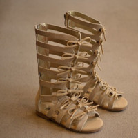Lara Tan Girls Gladiator Sandals