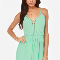 Flow Along Cutout Mint Green Dress