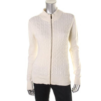 Charter Club Womens Cable Knit Long Sleeves Full Zip Sweater