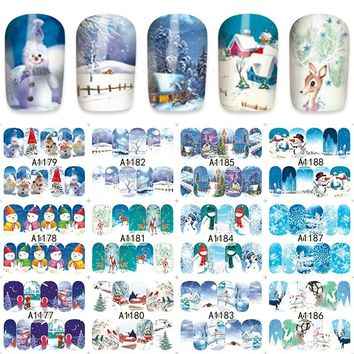 12 sheets christmas snowman winter style Nail Art Full cover Water Transfer decals NAIL STICKER SLIDER TATTOO Nail Accessories