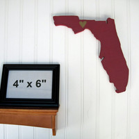 "Florida State Seminoles ""State Heart"" wall art, handcrafted wood with official team colors"