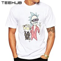 2017 Newest Summer Rick And Morty Men T-shirt Fear Loathing Printed Fashion T shirt Short Sleeve Basic Tee Shirts Cool Tops