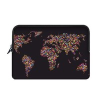 Colorful Dotted World Map Macbook Air 13 inch Laptop Sleeve Case Bags (Two Sides)