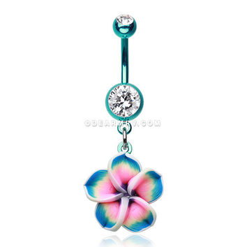 Colorline Hawaiian Plumeria Flower Belly Button Ring (Teal/Clear)