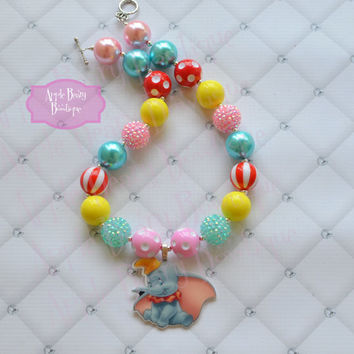 Dumbo necklace Dumbo the flying elephant bubblegum necklace Disney Dumbo inspired Chunky Bubblegum Necklace Girl Jewelry