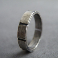 4 mm Man Ring Sterling Silver Ring Wedding Ring Textured Ring by SteamyLab
