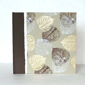 Fall Wedding Album Brown and Gold Leaves-Wedding Scrapbook,Photo Book Album,Guest Book, Personalized Album