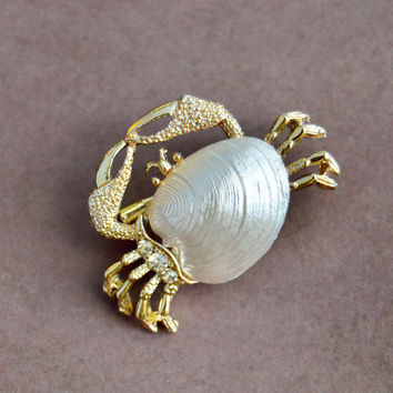 Vintage Gerrys, Gold Tone Crab Brooch Scatter Pin, Shell, Clear Rhinestone, Womens Estate Animal Nature Jewelry, Wife Girlfriend Mom Gift