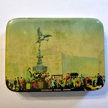 Rare 1920's Piccadilly Circus London Toffee Tin Case Collectible Vintage Bensons Confectionery Candy Tin Statue of Eros Cherub Art Sculpture