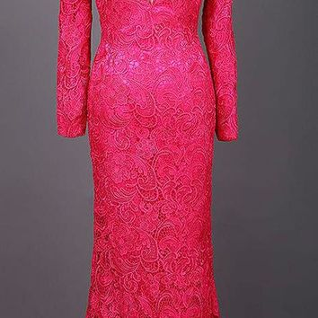 Mermaid Pink Lace Prom Dresses Floor Length Long Sleeve Prom Dresses Party Dress
