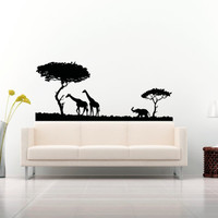Wall Decal Vinyl Sticker Decals Art Decor Design Safari Animals Giraffe Tree Nature Wild World Kid Children Nursery Bedroom Fashion(r1338)