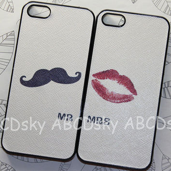 IPhone 5 Case - Cute black Mustache and red mouth SET iPhone case, pu Leather paste case ,iphone 5 hard case, Iphone 5 cover
