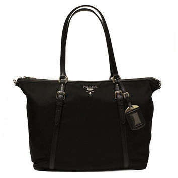 Prada B4253M Nero Black Tessuto Soft Calf Nylon and Leather Shopping Tote Bag