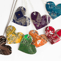 Heart necklace - geeky necklace - circuit board - contemporary Statement Necklace - recycled computer jewelry