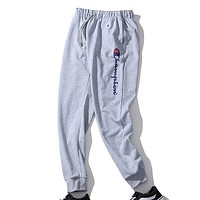 Champion New Fashion Tide brand casual loose printed sports trousers Gray