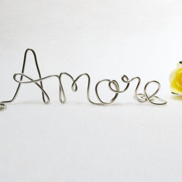 Amore Love Wire Wedding Cake Topper- Silver or Brown