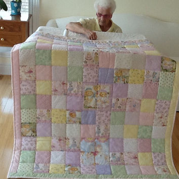 Paper Dolls, Cherished Teddies,  Carousel Dreams, Hand-Quilted, Handmade Quilt,Throw, Large Lap Quilt 48 x 61 Inches