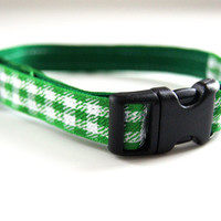 Green Plaid Dog Collar Adjustable Sizes (XS, S,  M)