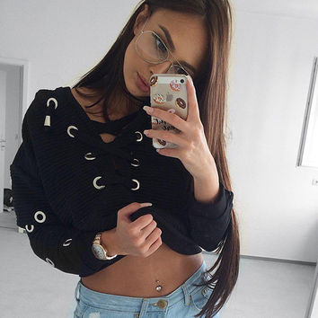 Fashion Retro Simple Chest Split Irregular Crisscross Straps Thickened Harajuku Sweater Crop Top