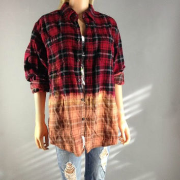 Flannel Plaid Button Up Shirt Grunge Bleach Dye Dipped Oversized 90s Vintage vibe Lumberjack Slouchy Upcyled Red Black Mens Womans XL L M