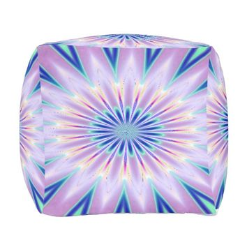 Purple White Blue Kaleidoscope Outdoor Pouf