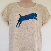 Tiger T-shirt - fairly traded, hand painted, rolled sleeves