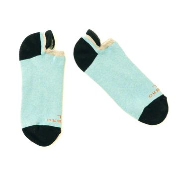Pale Blue, Cream & Black No-Show Ped Socks