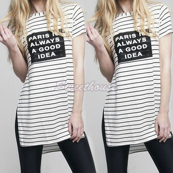 Women T Shirt Striped Letter Printed T-Shirt Casual Side Split Loose Tops