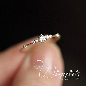 Stylish Fashion Women Ring Finger Jewelry Rose Gold /Sliver /Gold Color Rhinestone Crystal  Rings 4/5/6/7/8/9/10/11 Size