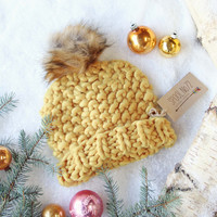 Soft Snow Knit Beanie in Mustard