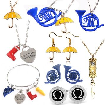 SG How I Met Your Mother Necklace Blue French Horn&Yellow Umbrella With Silver Link Chain Alice in wonderland Girl Necklaces